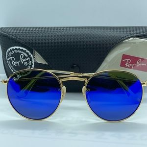 Brand New Rayban Round Rb3447 Gold with Flash Blue